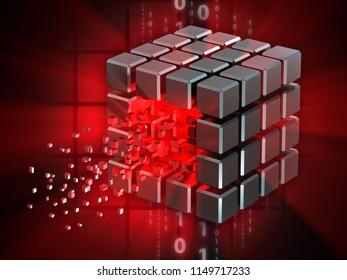 Hacked data cube. 3D illustration.