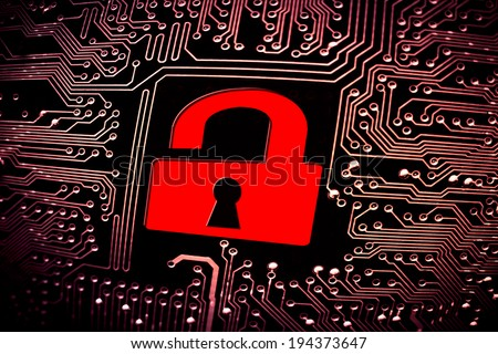 hacked symbol on computer circuit board stock illustration 194373647hacked symbol on computer circuit board with open red padlock