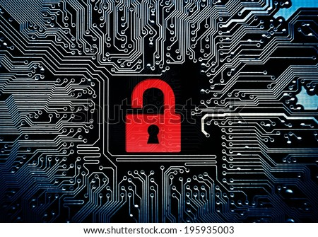 hacked symbol on computer circuit board stock illustration 195935003
