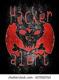 hacker alert with skull digital illustration