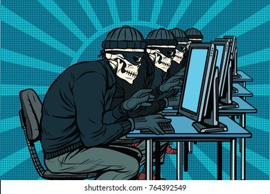 The hacker community, skeletons hacked computers. Pop art retro  illustration