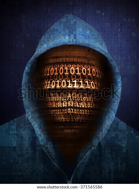 Hacker-Gesicht mit Zahlen