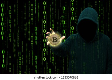 Hacker holding bitcoin coin over stream of random particle digital binary data matrix, Network data, technology computer and cyber crime concept