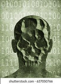 hacker with skull mask digital illustration