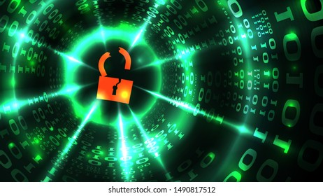 Hacking computer system, database, social network account. Hacked lock symbol on abstract computer data background programming binary code, data theft