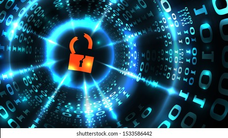 Hacking computer system, database, social network account. Hacked lock symbol on abstract computer data background programming binary code, data theft. Illustration