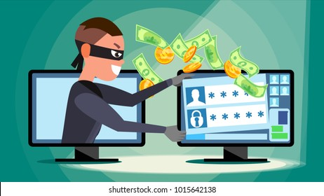 Hacking Concept. Hacker Using Personal Computer Stealing Credit Card Information, Personal Data, Money. Flat Cartoon Illustration