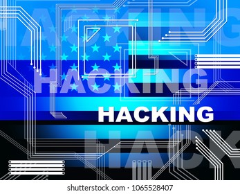 Hacking Electronics Showing Election Hacked 3d Illustration. Russians Stealing Online Information By Spying And Tampering On Digital Network.