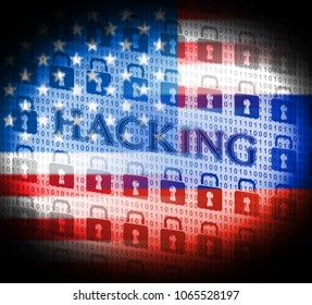 Hacking Locks Showing Election Data 3d Illustration. Cyber Crime  Criminal Campaign by Russian Government To Hack Elections In The USA Using Illegal Online Spying.