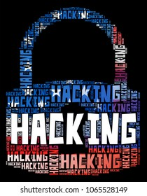 Hacking Padlock From Words Cybercrimes 3d Illustration. Cyber Crime  Criminal Campaign by Russian Government To Hack Elections In The USA Using Illegal Online Spying.