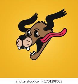 Had funny dog - vintage cartoon characters - Happy dog