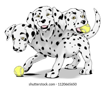 Hades' faithful three-headed hellhound Cerberus depicted as a playful dalmatian puppy.