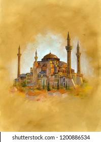 The Hagia Sophia (Ayasofya) in İstambul. Watercolor illustration on vintage paper.