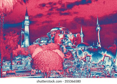 Hagia Sophia and fountains at night in Istanbul, Turkey