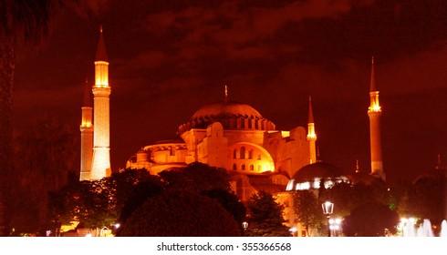 Hagia Sophia  at night in Istanbul, Turkey