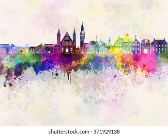 The Hague skyline in watercolor background