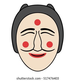 Hahoe mask icon in cartoon style isolated on white background. South Korea symbol stock rastr illustration.