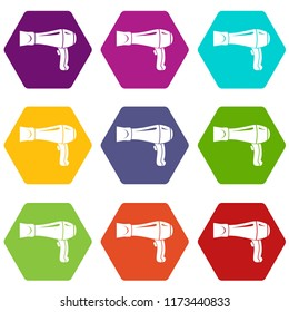 Hair dryer icons 9 set coloful isolated on white for web