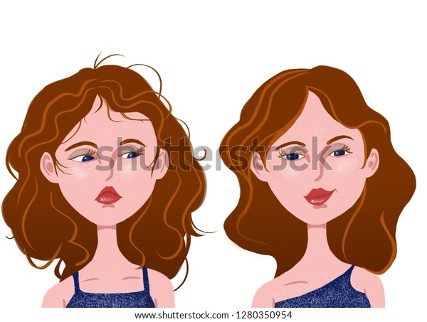 Hair Improvement Hair Transformation Hair Mask Stock Illustration