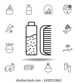 hair medicine, comb outline icon. Detailed set of spa and relax illustrations icon. Can be used for web, logo, mobile app, UI, UX