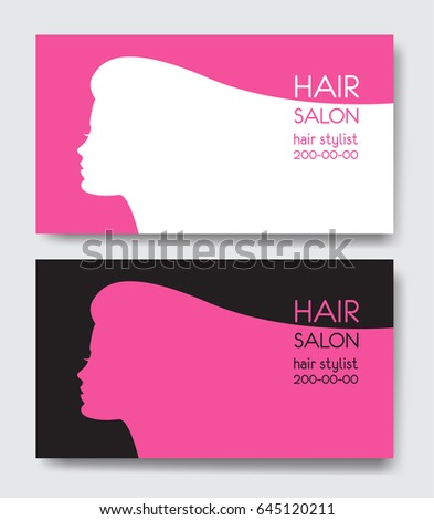 Hair salon business card templates beautiful stock illustration hair salon business card templates with beautiful woman face silhouette silhouette of woman with long cheaphphosting Gallery