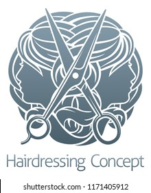 Hair salon stylist hairdresser icon with womens faces and scissors