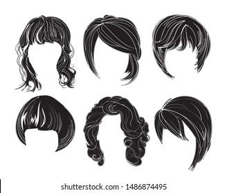 Hair silhouettes set, woman hairstyle.
