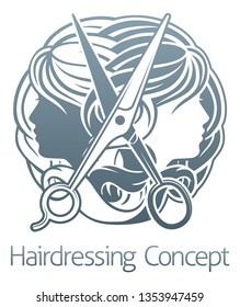 Hair stylist salon hairdresser concept with womens faces and scissors
