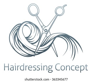 Hairdresser concept of a pair of hairdresser scissors cutting some hair