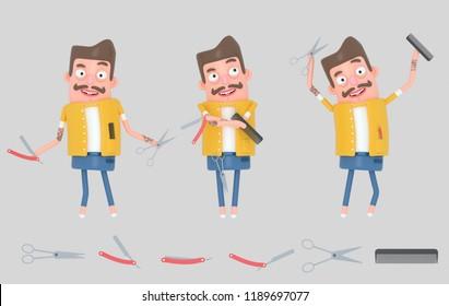 Hairdresser man. Barber man. 3d illustration
