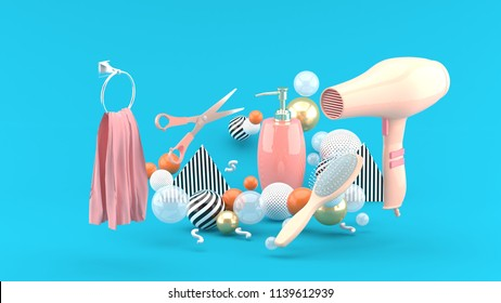 Hairdressing amidst colorful balls on blue background.-3d rendering.