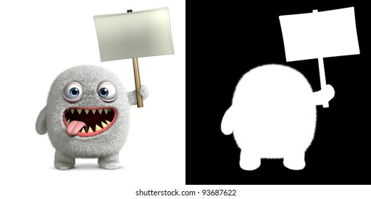 hairy alien holding placard