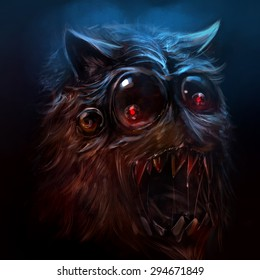 Hairy monster illustration. Scary drawn hairy monster face with sharpened & bloody teeth illustration.