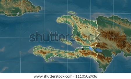 Topographic Map Of Haiti.Royalty Free Stock Illustration Of Haiti Area Map Azimuthal