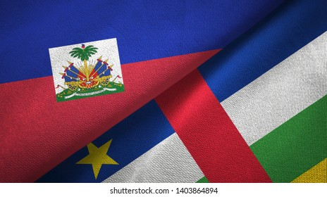 Haiti and Central African Republic two flags textile fabric texture