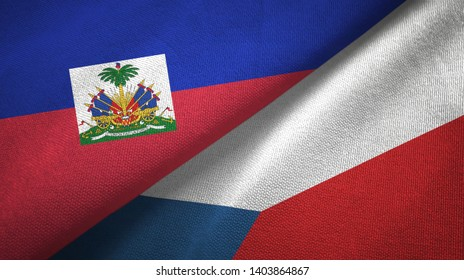 Haiti and Czech Republic two flags textile cloth, fabric texture