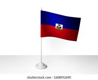 Haiti desk flag waving 3D rendering isolated white background