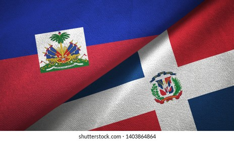 Haiti and Dominican Republic two flags textile cloth, fabric texture
