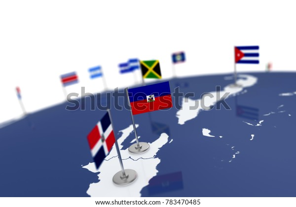 Haiti flag. Country flag with chrome flagpole on the world map with neighbors countries borders. 3d illustration rendering flag