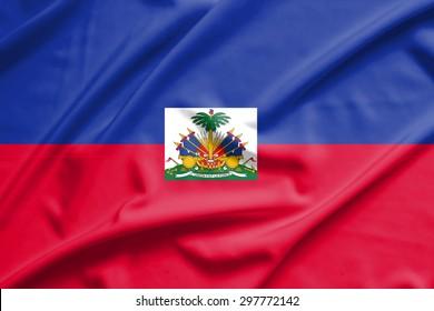 Haiti flag on soft and smooth silk texture