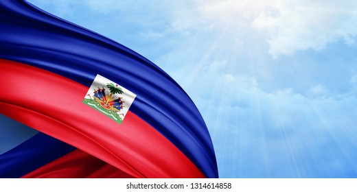 Haiti   flag of silk with copyspace for your text or images and sky background-3D illustration