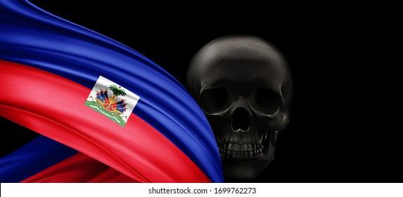 Haiti flag of silk with human skull and black background-3D illustration