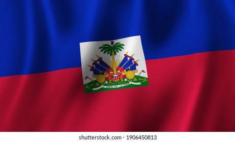 Haiti Flag Waving Closeup 3D Rendering With High Quality Image with Fabric Texture