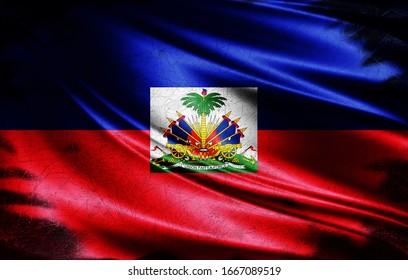 Haiti grunge flag of silk-3D illustration