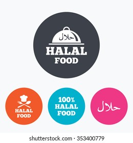 Halal food icons. 100% natural meal symbols. Chef hat with spoon and fork sign. Natural muslims food. Circle flat buttons with icon.