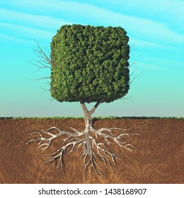 Half divided image of a cubical tree in the ground. This is a 3d render illustration