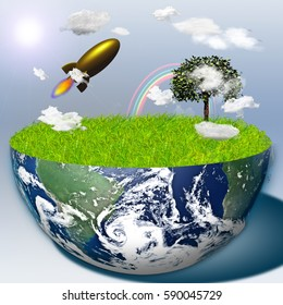 Half earth with green grass and landscape   3D Render  Some elements provided courtesy of NASA