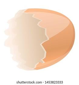 Half empty eggshell icon. Cartoon of half empty eggshell icon for web design isolated on white background