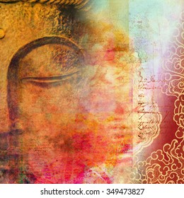 Half face of Buddha with closed eyes merged with beautiful scripted red background