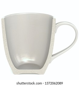 A Half gray Cup isolated on white background. 3d rendering.
